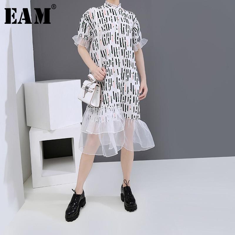 [EAM] Women Printed Ruffles Organza Big Size Shirt Dress New Stand Collar Short Sleeve Loose Fashion Spring Summer 2020 1U159