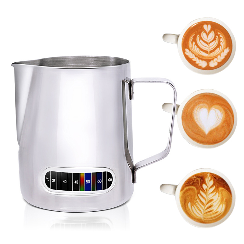 Milk Frothing Jug With Built-In Thermometer, Stainless Steel Creamer Frothing Pitcher 20 Oz (600 Ml) Espresso Coffee Latte Pots