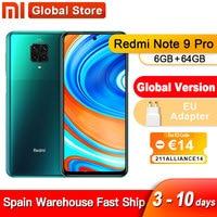 España de ultramar Redmi Nota 9 Pro 6GB 64GB NFC versión Global Smartphone Snapdragon 720G Octa Core 64MP Quad 5020mAh Cámara