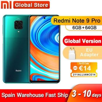 Spain Oversea Redmi Note 9 Pro 6GB 64GB NFC Global Version Smartphone Snapdragon 720G Octa Core 64MP Quad Camera 5020mAh