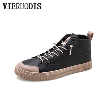 Comfortable lightweight men's skateboard shoes high-top skateboard shoes solid color skate shoes image