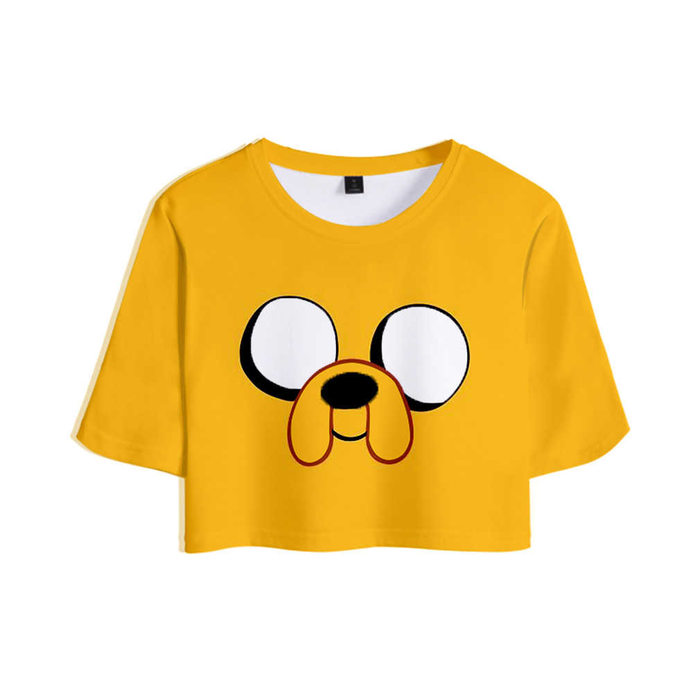 Adventure Time Print Middenrif-baring T-shirt Sexy Vrouwen Mode Populaire Casual Harajuku Korte Mouw T-shirt Hot Koop