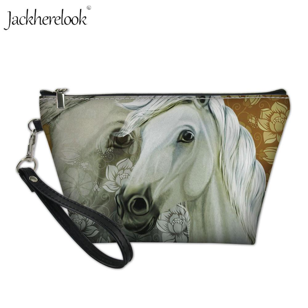 Jackherelook White Horse Floral Print Portable Cosmetic Bag Women Makeup Bags Mini Toiletry Clutch Bag Crazy Horse Animal Pouch