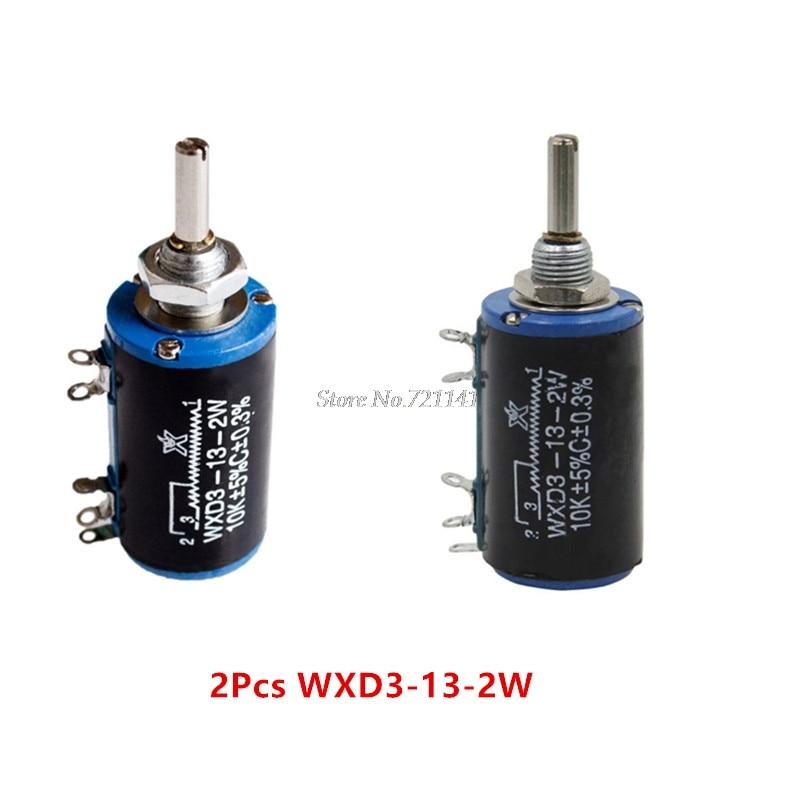 2 шт. WXD3-13-2W 10 к ом WXD3-13 2 Вт Поворотный боковой поворотный многооборотный потенциометр с проволочной обмоткой оптовая продажа и Прямая