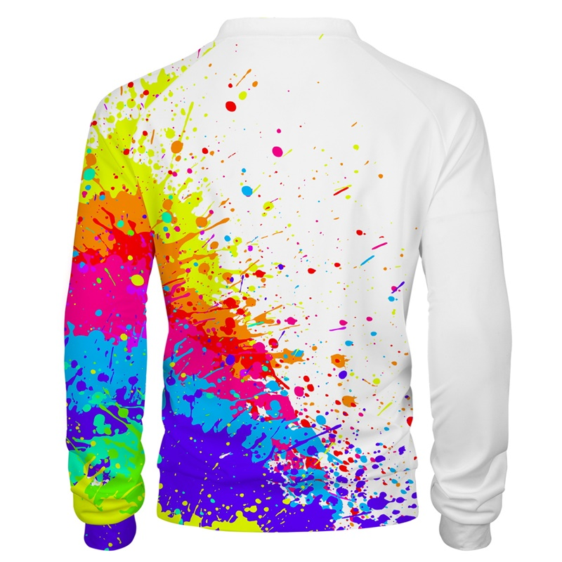 Cloudstyle 3D Mens Jackets Splatter Colorful Painting Stains Zipper Jacket Streetwear Pullovers Tops Plus Size 5XL For Spring