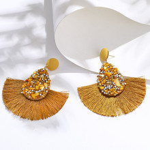 HOCOLE New Crystal Tassel Earrings For Women Bohemian Rhinestone Drop Earrings Long Big Wedding Bridal Statement Fringe Earring