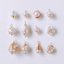 Wire Pearl Eardrop Accessories Metal Pendant Earring Components Necklace Charms Diy Making Material Jewelry Finding 4pcs geometric earring accessories star metal pendant eardrop components necklace charms diy making material jewelry finding 6pcs