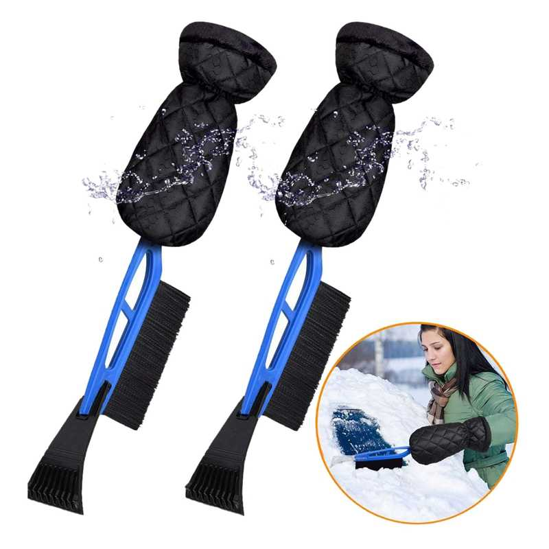Blue Non branded Clacopiz Ice Scraper Mitt for Car Windshield Snow Scraper Waterproof Glove Ice Shovel Snow Remover Glove Lined of Warm Thick Fleece for Window from Scrape Frost and Ice