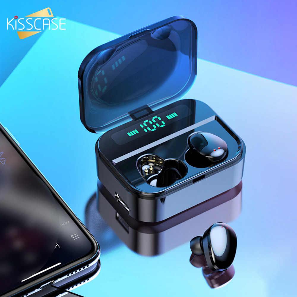 KISSCASE TWS Bluetooth 5.0 słuchawki bezprzewodowe słuchawki sportowe słuchawki douszne Mini bezprzewodowe słuchawki z Power bankiem na smartfony