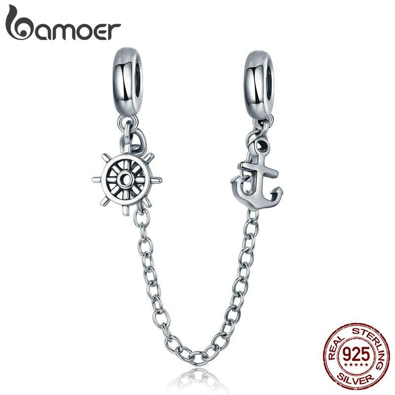 BAMOER nouveauté 925 argent Sterling Voyage & gouvernail sécurité chaîne bouchon breloque idéal pour bracelet bracelets bijoux SCC604