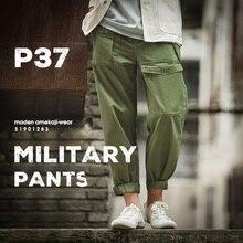 Maden estilo militar retro solto p37 calças militares clássico em linha reta grande bolso calças casuais masculino