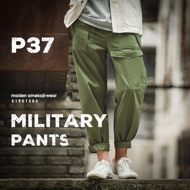 Maden Ретро военный стиль свободные p37 военные брюки классические прямые большие карманы повседневные мужские брюки