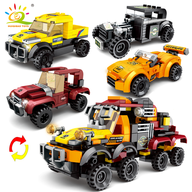 HUIQIBAO 359pcs 4in1 City Speed Champion Racing Car Building Blocks Automobile 4 Sport Super Racers Figures Bricks Children toys