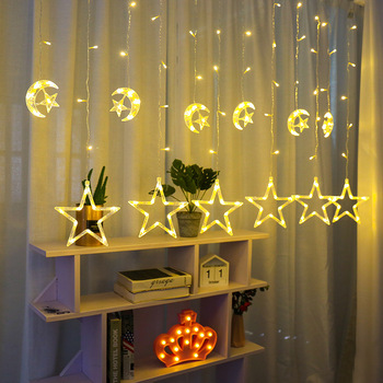220V EU Plug LED Star Moon Christmad String Light Waterproof Outdoor Christmas Garlands LED Curtain Light Holiday Decoration 3w 30 led strobe rgb light christmas tree style decorative string light 220v 2 round pin plug