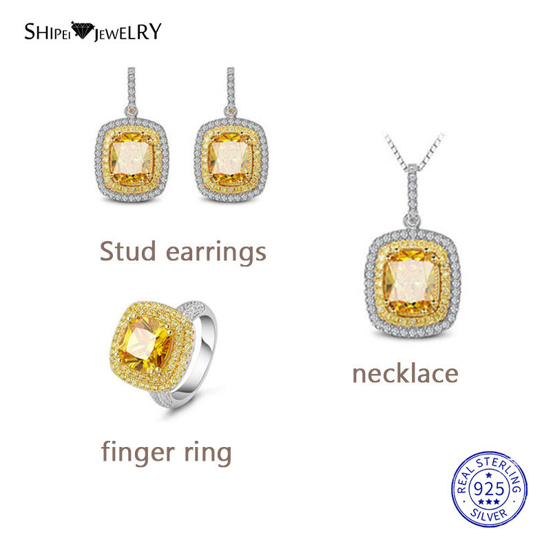 Shipei 100% 925 Sterling Silver Fine Jewelry Set Luxury Yellow Sapphire Square Drop Earrings Pendant Necklace Ring for Women