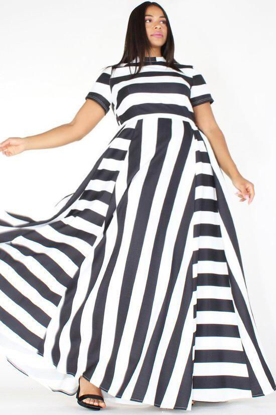 Oversized Women Maxi Short Sleeves Floor Length Casual Dress Plus Size Ladies Summer Stripes Party Tall Beauty Vestido 7
