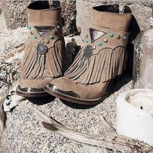 women ankle boots chunky low heels ladies chaussure gladiator tassels s