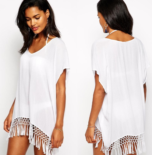 Wholesale South Korea Linen Tassels Beach Skirt, Beach Cover-up V-neck Gua Xu