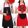 Корейские модные вечерние платья  водонепроницаемый милый мультяшный парный фартук для работы  для мужчин и женщин  для кухни  для дома  с ло...