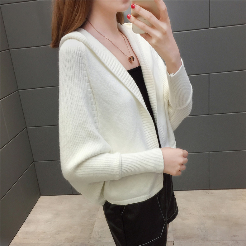 2019 Free send New style Korean loose and comfortable Autumn women Cardigan Sleeve of bat Hooded Sweater coat 146