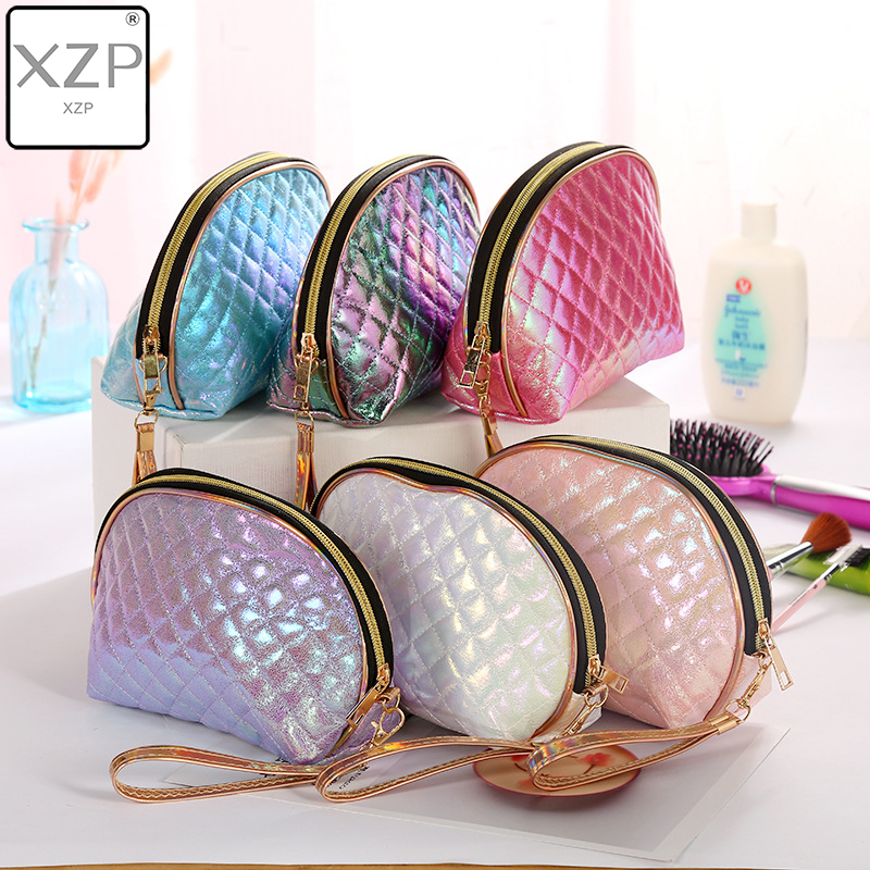XZP Colorful Plaid Shell Portable Travel Wash Storage Makeup Bag Organizer Bags PU Women Travel Personality Laser Cosmetic Bag