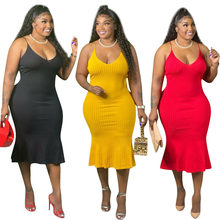 XL-4XL Plus Size Women Clothing Summer Dress Sexy Solid Color Ribbed Sling Sleeveless Dresses Wholesale Dropshipping
