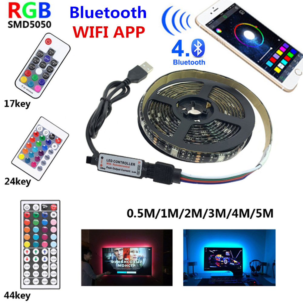 TV LED Light Strip USB DC 5V Luces Led Lights Waterproof Leds RGB Luz Led + WIFI Bluetooth 24Key 44Key Music Controller SMD5050