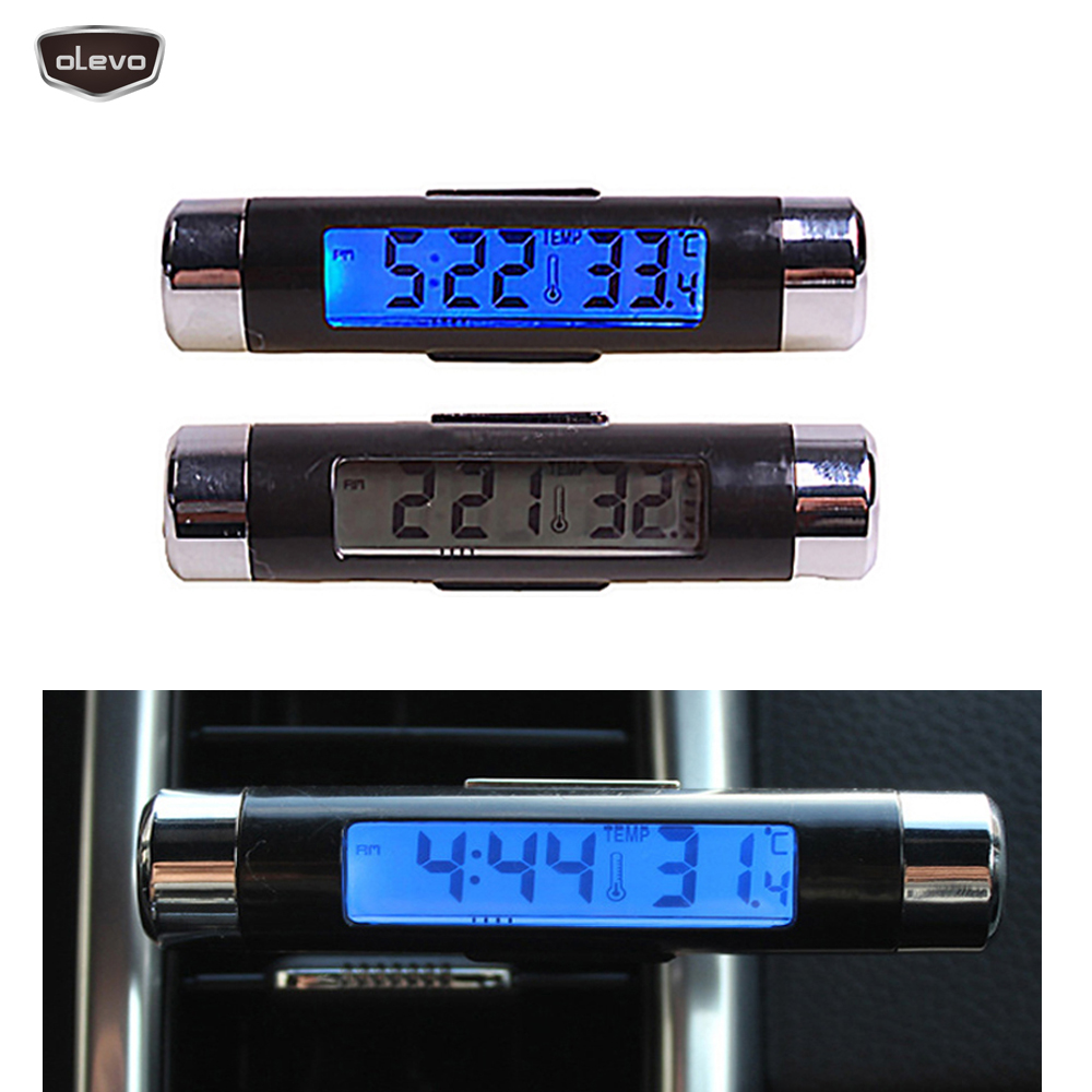 LED Car Clock Digital Time Car Thermometer Car Watch LCD Clip-on Digital Temperature 2in1 Blue Backlight Clock Electronics
