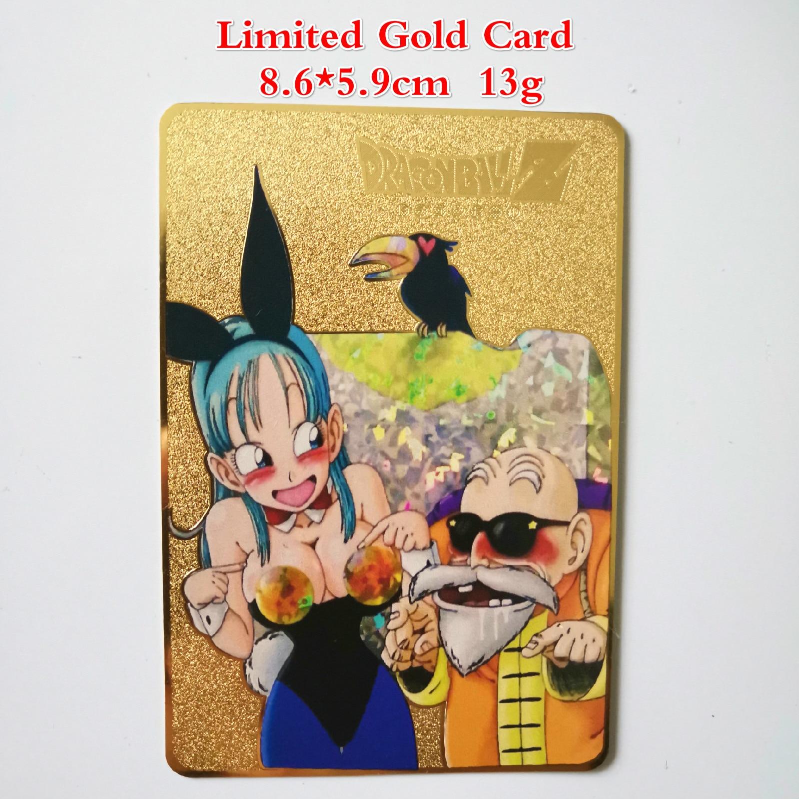 Dragon Ball золотая металлическая карточка супер игра Коллекция аниме-открытки игра детская игрушка - Цвет: B