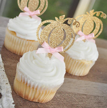12pcs/bag Pink and Gold First Birthday Cake Topper Pumpkin 1st Decorations Cupcake Toppers