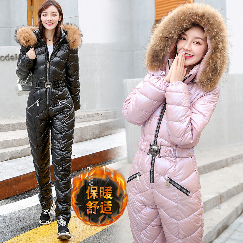 One Piece Ski Suit Women Winter Fur Hooded Jumpsuit Warm Cotton Padded Sashes Parka Overalls Casual Zipper Thicken Tracksuits Special Offer 2cb2 Cicig