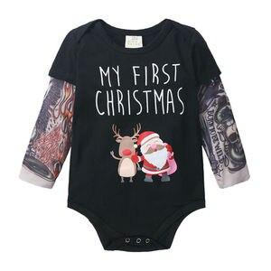 Maluch Baby Boy Kids moje pierwsze święta renifer Romper body stroje Xmas ubrania