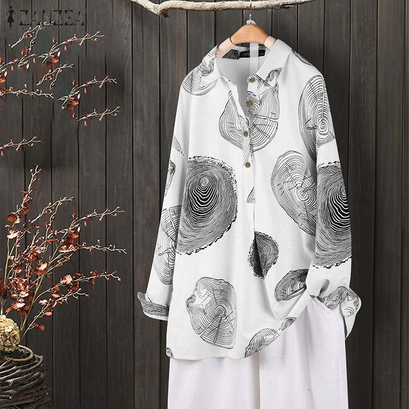 2019 Vintage Printed Women Long Sleeve Shirts ZANZEA Ladies Casual Lapel Neck Blouses Work Office Tunic Tops Blusas Plus Size