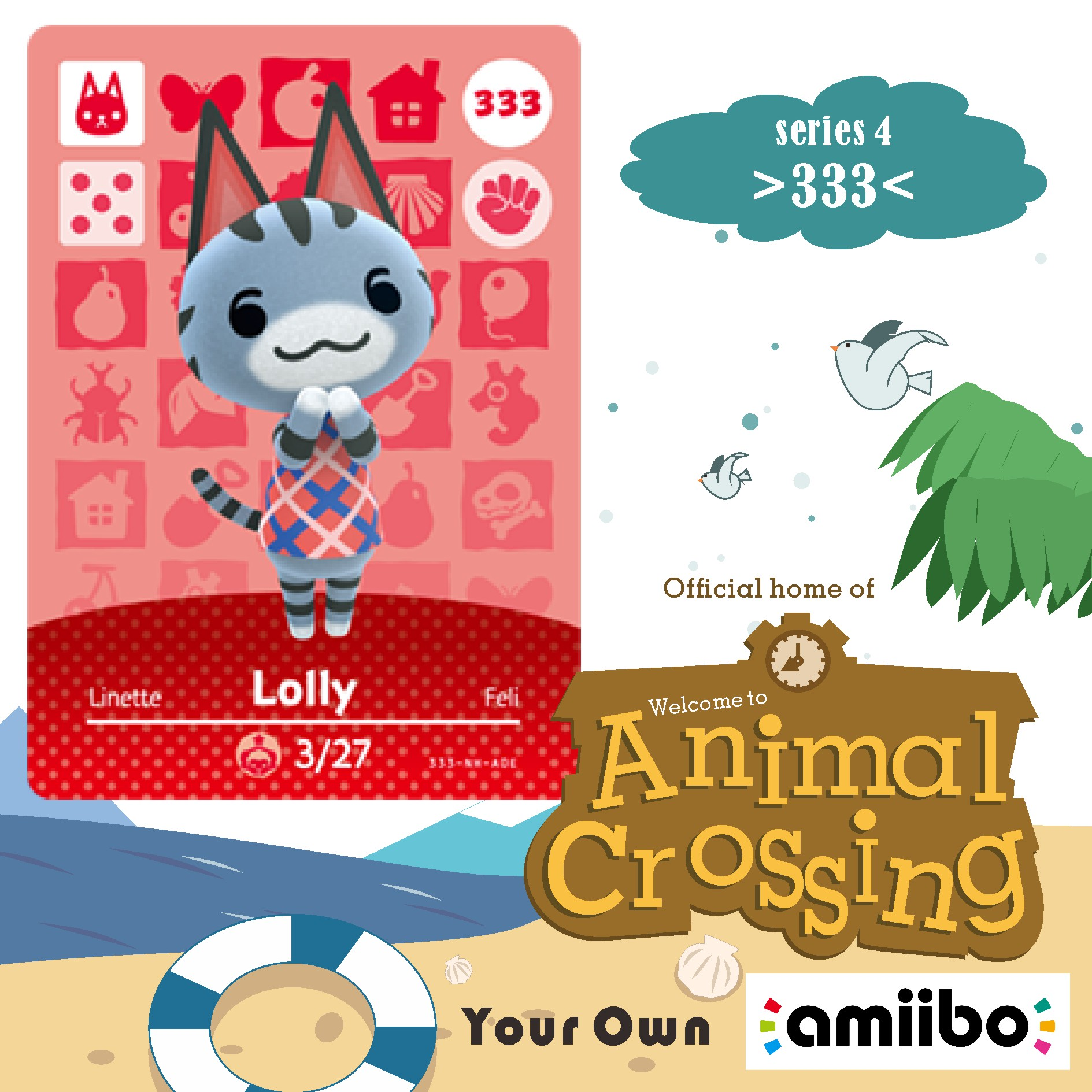 333 Animal Crossing Lolly Animal Crossing Amiibo Lolly Amiibo Lolly  Villager Amiibo Card New Horizons NFC Card For NS Games