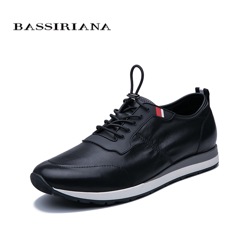 Bassiriana 2020 men's spring and autumn flat shoes casual sports shoes leather comfortable breathable Men's shoes