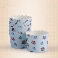50 pièces bleu fleur Muffin Cupcake gobelets en papier pour noël Cupcake papier tasse Caissette Cuisson Cupcake emballage Liner tasses de Cuisson