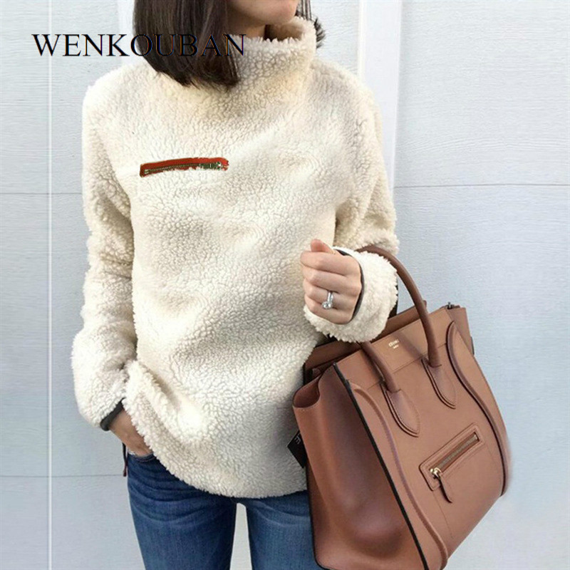 Winter Clothes Women Turtleneck Sweater Fluffy Fleece Warm Pullovers Female Fashion Autumn Long Sleeve Jumpers Pull Femme 2019
