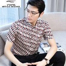 Real Silk Summer Shirt Men Short Sleeve Printed Shirt Social Mens Shirts Casual Slim Fit 2020 Camisas Hombre 4320 KJ2944