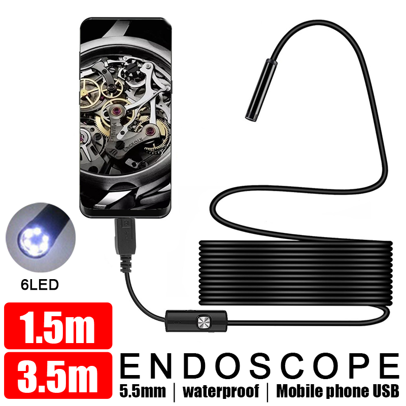 1.5/3.5M 5.5MM USB Endoscope With OTG Endoscope Camera Real-Time Video Borescope Camera For  Android Mobile Phone Car Endoscope