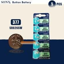 Bateria de relógio, sony 100% original 377 sr626sw sr626 ag4 1.55v botão de moeda sr626sw 377 célula feita no japão