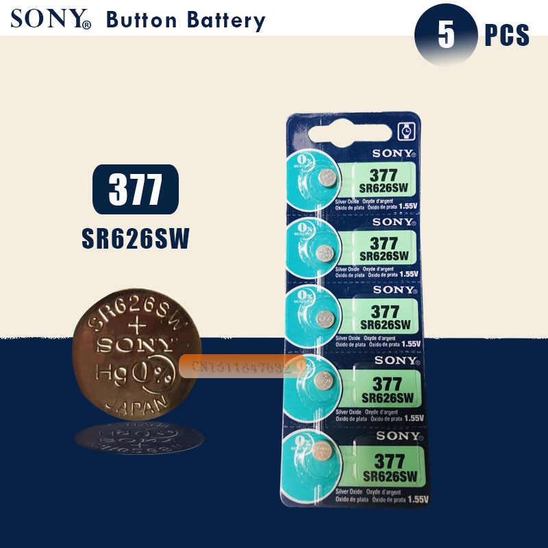 5pc nowy Sony 100% oryginalny 377 SR626SW SR626 AG4 1.55V srebrny tlenku bateria zegarka SR626SW 377 przycisk ogniwo monety wykonane w japonii
