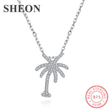 SHEON 100% 925 Sterling Silver Sparkling CZ Coconut Tree Pendant Necklaces for Women Jewelry Gift