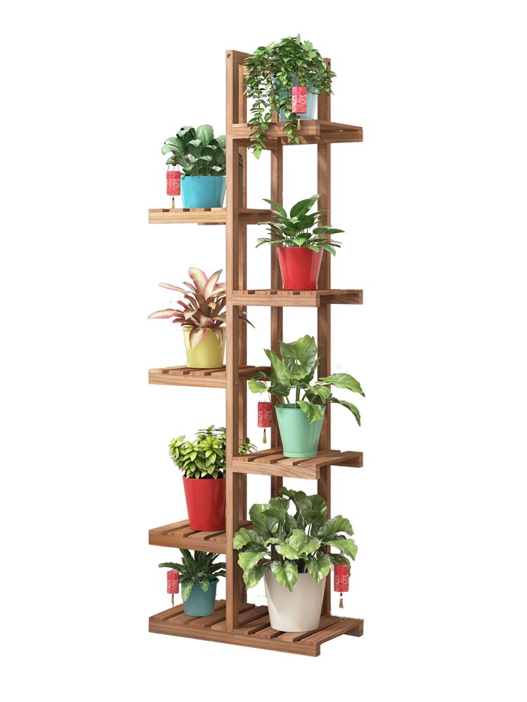 Floor Type Simple Flower Pot Rack Wooden Balcony Sitting Room Multi-storey Flower Plant Display Stand Indoor Plant Stand