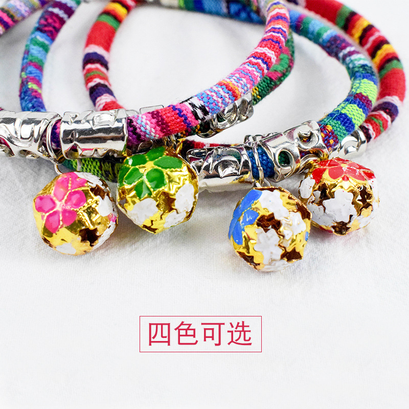 [] Ethnic-Style Dogs And Cats Universal Bell Neck Ring Color Cotton Cat Neck Ring
