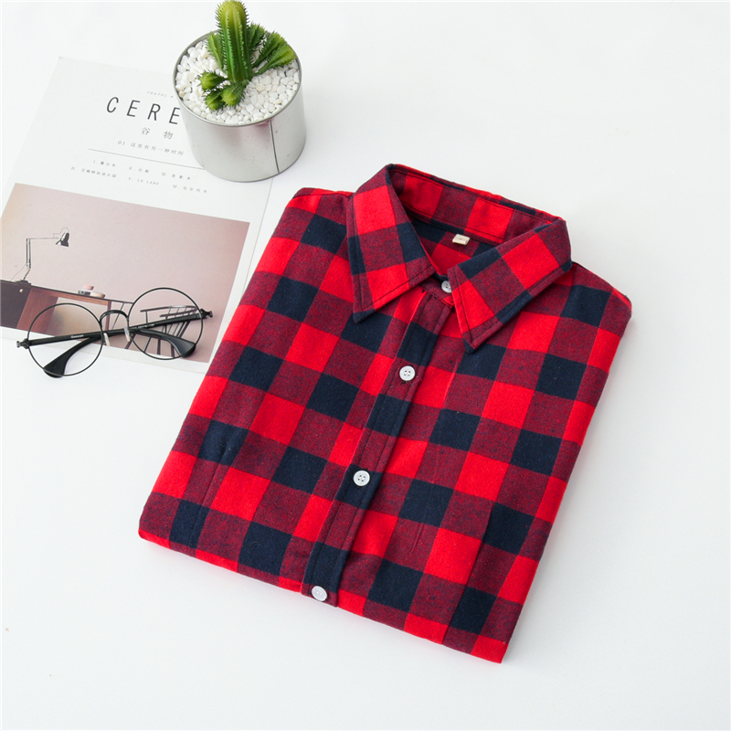 2020 New Women Blouses Brand New Excellent Quality Cotton 32style Plaid Shirt Women Casual Long Sleeve Shirt Tops Lady Clothes 13