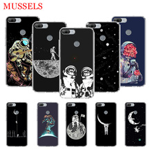 Space Moon Astronaut TPU Phone Cases for Huawei Honor 8X 20 9 10 Lite 8A 10i 20i 8S V20 Y5 Y6 Y7 Y9 2019 Coque Cover Capa