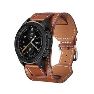 Image 4 - Cross Grain Genuine Leather Watchband For Samsung Galaxy Watch 3 41mm/42mm/Active 2 1 40mm 44mmm Universal Bracelet 20MM Strap