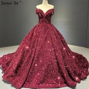 Image 3 - אפור כסף נצנצים שמלות כלה 2020 דובאי Sleeveess סקסית יוקרה כלה שמלות Serene היל HM66742 תפור לפי מידה