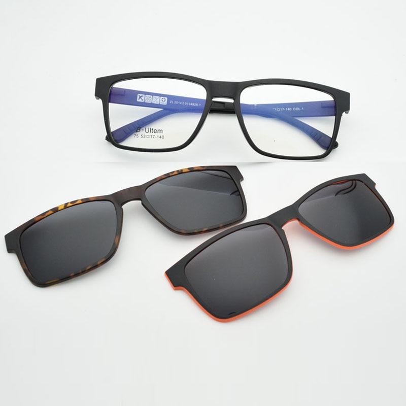Glasses Frame For men With Polarized Magnet Clip Sunglasses Myopia Eyeglasses Prescription Lens Driving mirror JKK75