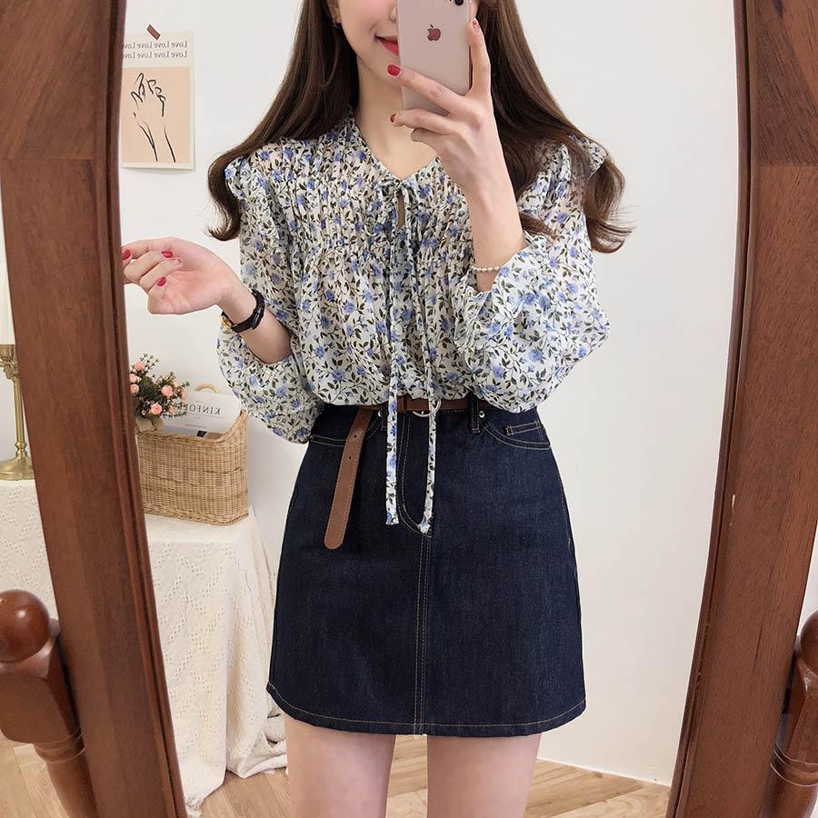Hdec364e00f13417494eb6a404fe65e75u - Spring / Autumn Lace-Up Collar Long Sleeves Floral Print Blouse